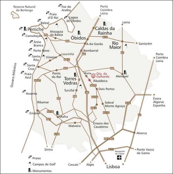 mapa região oeste portugal Quinta da Galharda ® mapa região oeste portugal